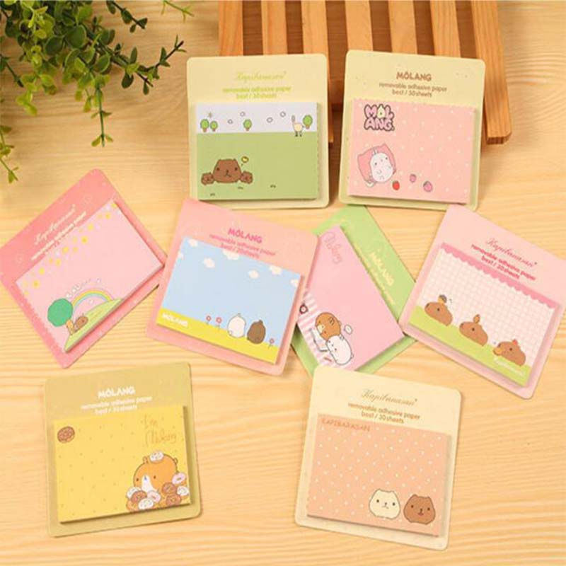 4 Pcs/lot Mini Molang Rabbit Memo Pad Sticky Notes Cute Post Bookmark Stationery Label Stickers School Supplies Notepad Escolar