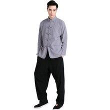 Новинка серый черный китайских мужчин кунг-фу форма хлопок тай-чи костюм старинные кнопка одежда M, L, XL, XXL, XXXL