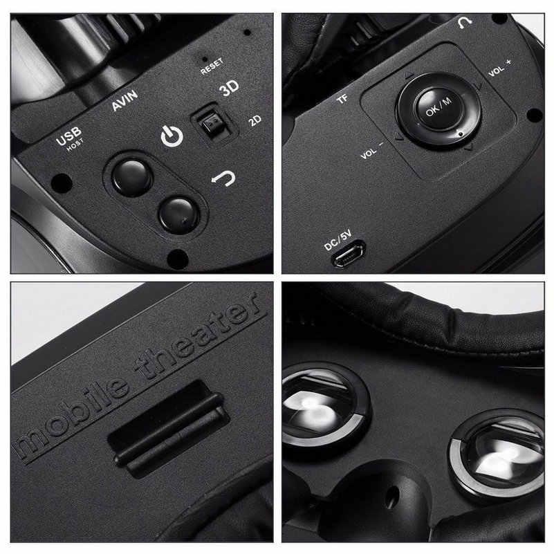 VR メガネ仮想現実 HMD-518 1080 p 3D ビデオ映画のゲームメガネプライベートモバイルシネマパーソナルシアターゲーム映画 + 8 グラム TF