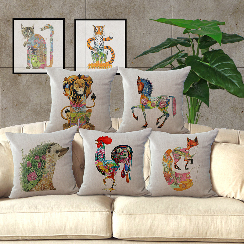 Wholesale 1 piece famous designer Cartoon Animal Totems Seat pillow cover Decorative Home Chair Throw Pillows Case 1X45*45cm