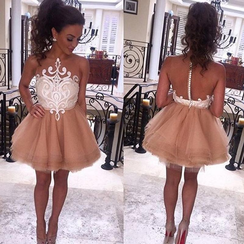 New Arrival Champagne Tulle A-Line Homecoming Dresses 2018 Scoop Appliques Lace Hollow Back Gowns For Graduation Girls