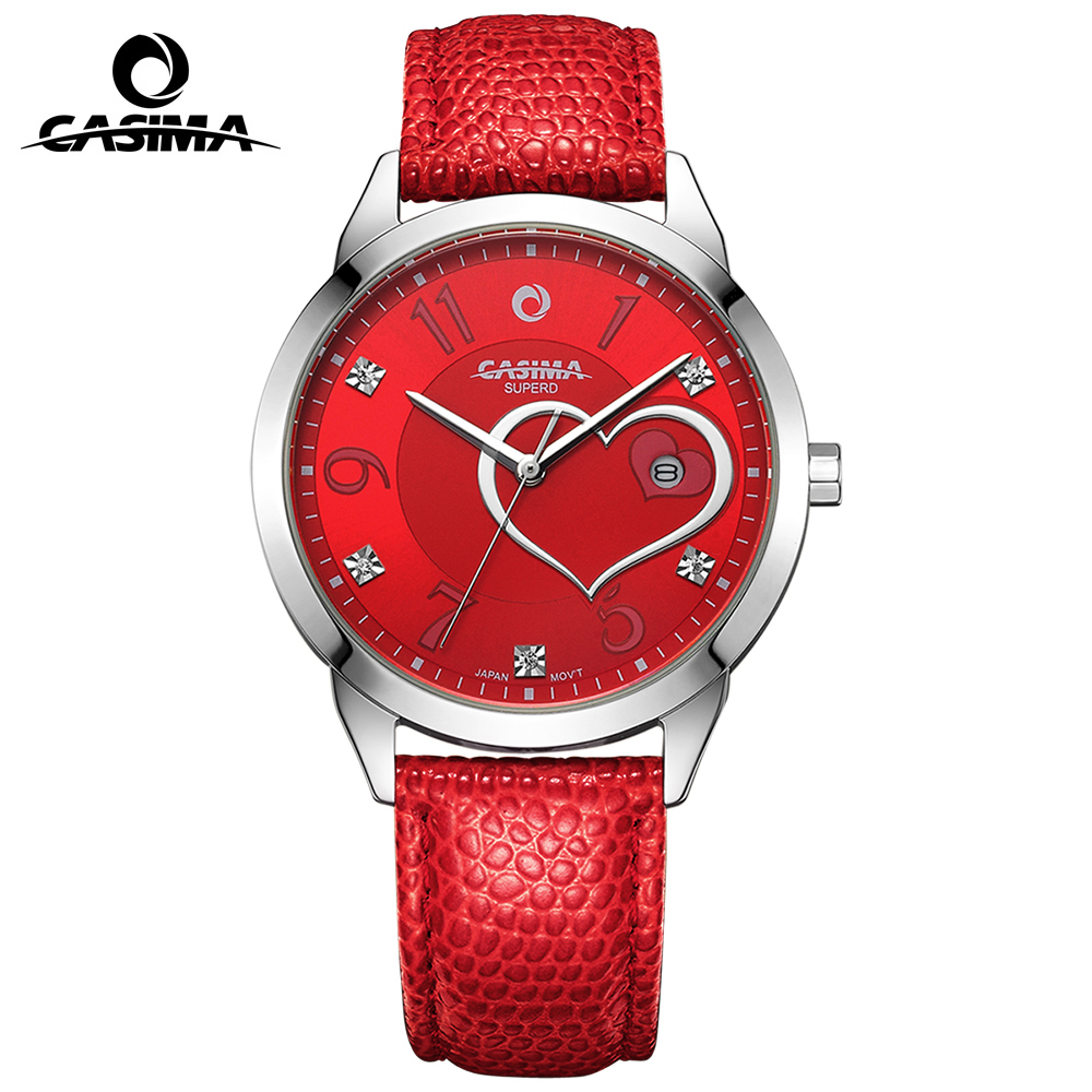 CASIMA Fashion Red Rose Love Heart-shaped Pattern Elegant Luxury Brand Watch Women Diamond Quartz Wrist Watch Leather Waterproof