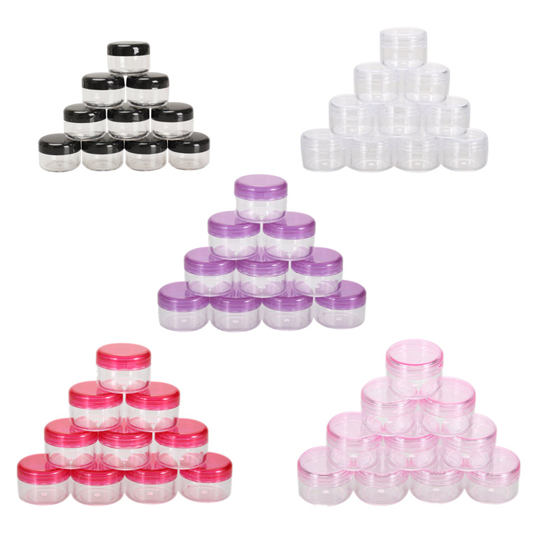 10PC kosmetiska siktburkar Pot Box Nail Art Kosmetisk Pärla Förvaring Makeup Cream Box Plastbehållare Round Bottle Pink