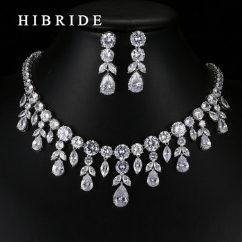 HIBRIDE Fashion Style Water Drop Surrounded CZ Stone Pendants Necklace Earrings Rhodium Plated Bridal Wedding Jewelry Sets N-68