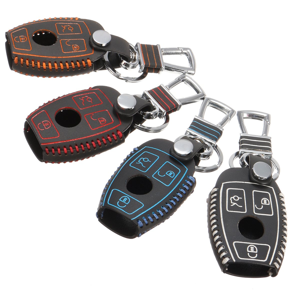3 Buttons Car Key Remote Fob Cover Shell For Mercedes-Benz C E S M GLK CLS CLK PU Leather