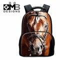 Mochila cavalo padrão Lobo Tiger 3D Impresso Melhores Bookbags Escola para Alunos do Ensino Fundamental Cão Bonito Mochila para Meninas bagpack