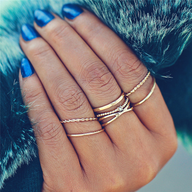 17KM Fashion Gold Color X Knuckle Rings Set For Women Vintage Midi Finger Ring F
