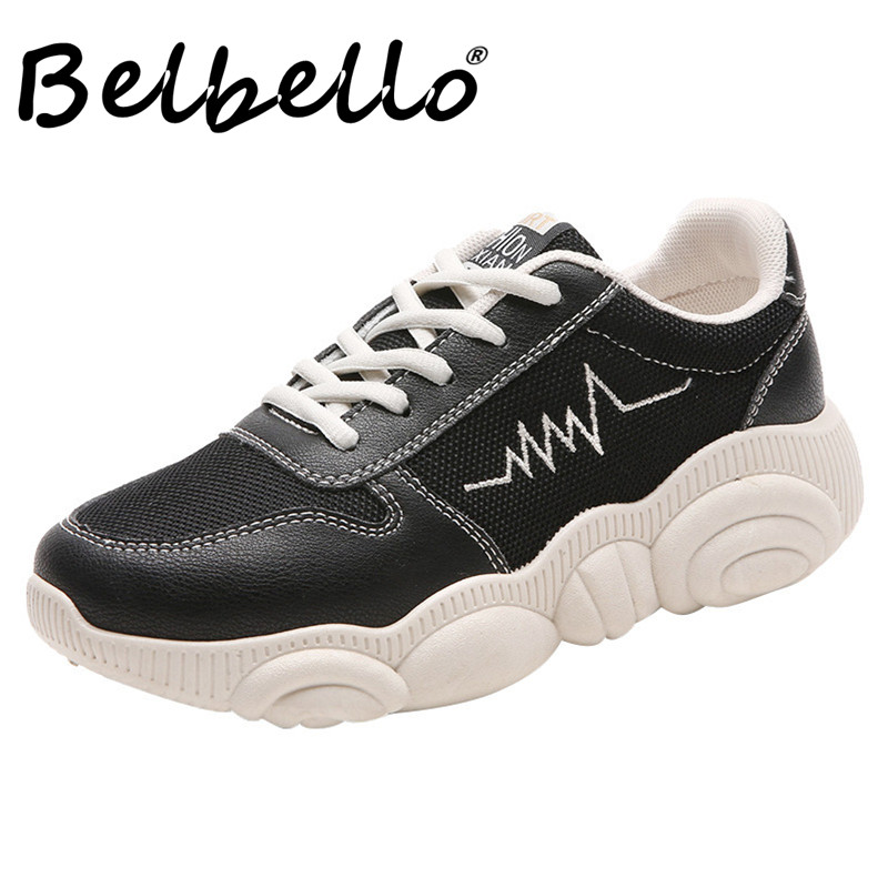 Belbello 2019 Summer Autumn Sports Shoes Lightweight Breathable White Shoes Size 35-40 Women Shoes