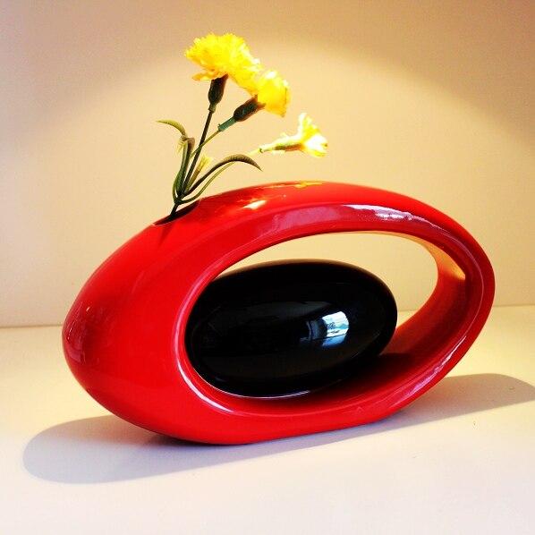 Proste kwiat wazony ceramiczne ozdoby nowoczesne moda craft rzemiosło dekoracyjne kwiat ślub prezenty czerwony wazon w Wazony od Dom i ogród na AliExpress - 11.11_Double 11Singles' Day 1