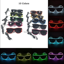 лучшая цена Hot Sale EL Wire Glowing Sunglasses with dark lens DC-3V Steady on Inverter LED Neon Light up Glasses for Glow Party Decoration