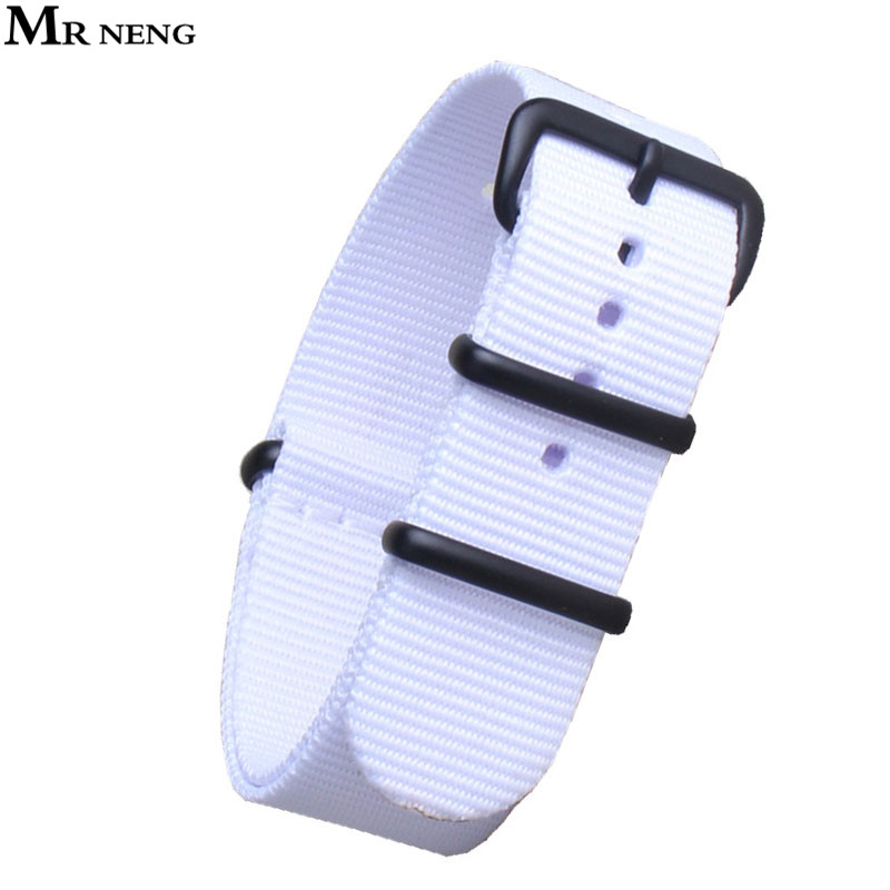 MR NENG Brand Army Sports Nylon Watchband 24mm Bands Black-Buckle belt For Man Nato Straps 20mm 22mm White Color mr neng brand 1 pcs wholesale fashion nylon woven for perlon straps different colors 20mm 22mm watchband 14mm 16mm 18mm