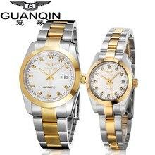 Parejas Par Relojes de Marca de lujo Guanqin Relojes Luminosos Calendario Dual Mecánico Zafiro Ama Relojes Transparente A Prueba de agua
