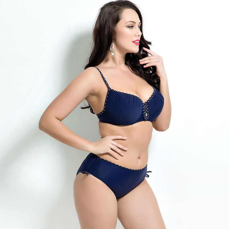 Fat Wear Plus Size Bikini Set Bathing Suit Push Up Bikinis Women Swimwear Large Cup Biquini Black Large Swimsuit 2016 Summer New