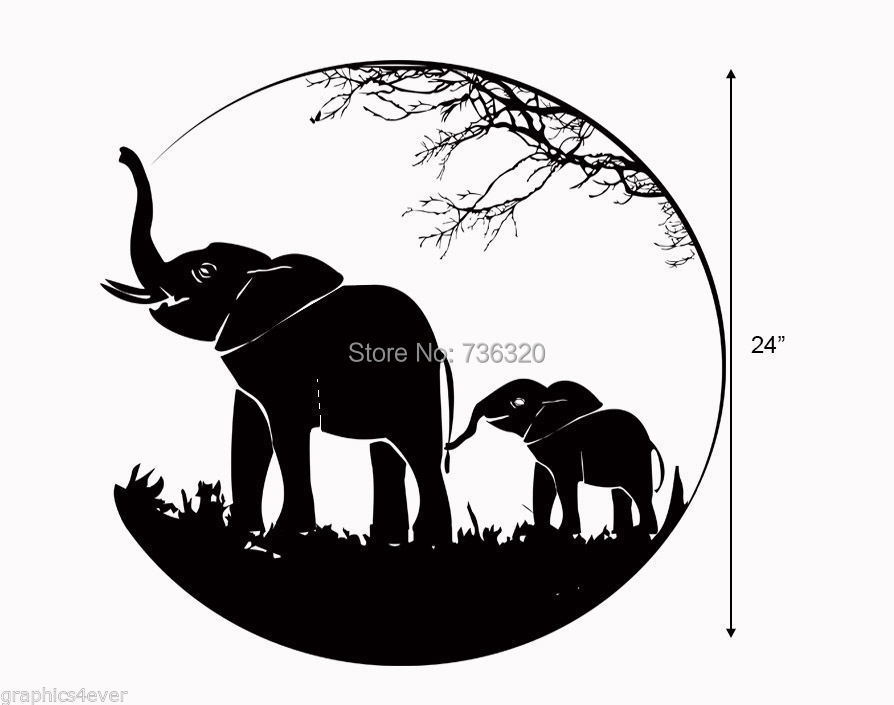2015 Hot Selling Elephants Decal Black Vinyl Wall Decal <font><b>African</b></font> Animal Wall sticker <font><b>Home</b></font> decoration Art Mural Room Wall <font><b>decor</b></font>