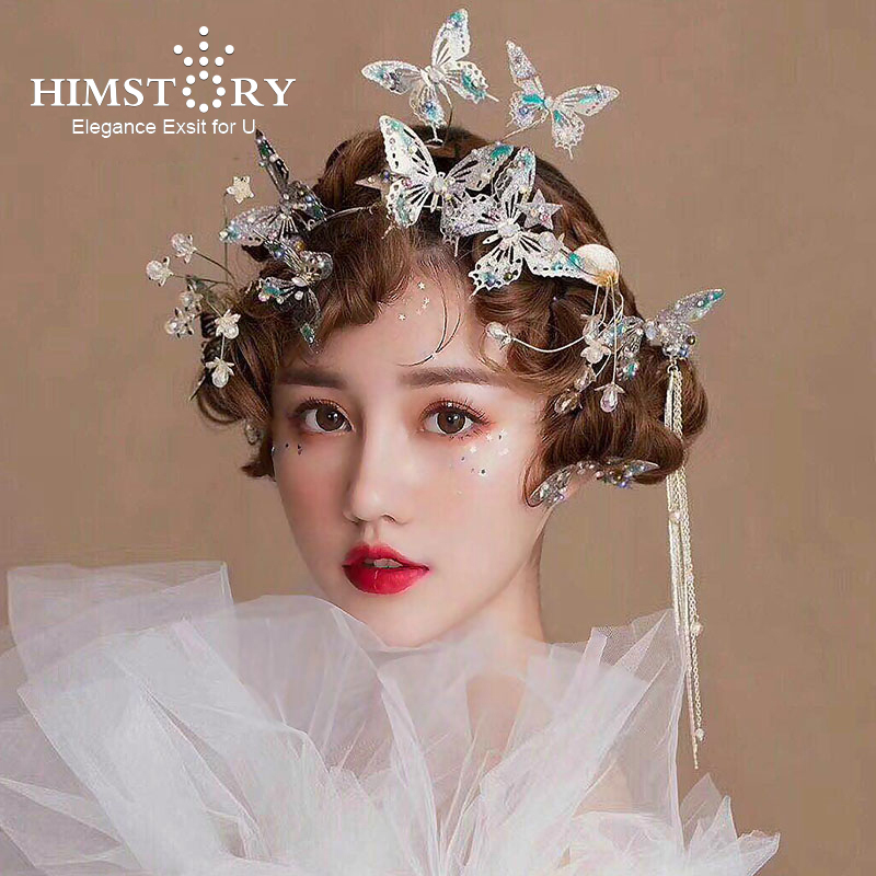 Himstory Beautiful Flying Gold Butterfly Wedding Hairbands Party Evening Dress Blue Butterfly Hairpins Jewelry Hair Accessories in Hair Jewelry from Jewelry Accessories