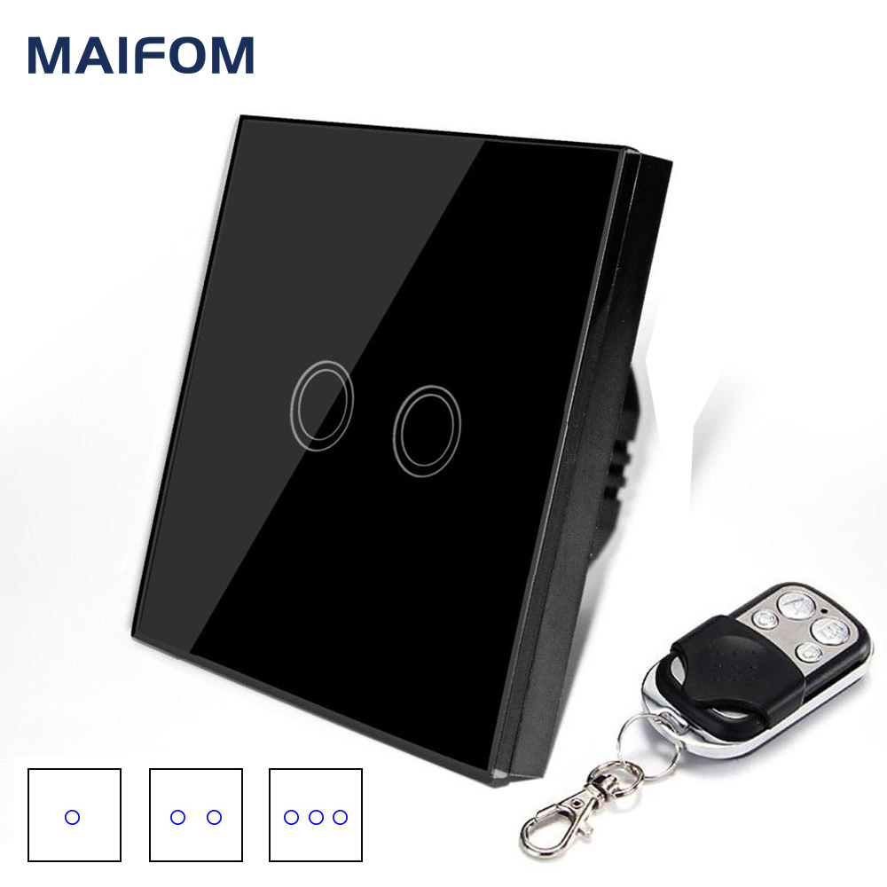 EU Standard Switch Original MAIFOM Remote Control light switch 1Gang 2Gang 3Gang Glass Panel touch switch 90-240V RF433 ewelink eu uk standard 1 gang 1 way touch switch rf433 wall switch wireless remote control light switch for smart home backlight