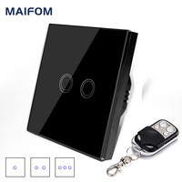 EU Standard Switch Original MAIFOM Remote Control Light Switch 1Gang 2Gang 3Gang Glass Panel Touch Switch