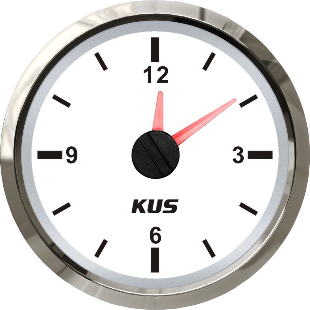 KUS 52 мм часы для лодки, кварцевые часы с индикатором, водонепроницаемые морские автомобильные часы на колесах, циферблат 12 часов 12 В/24 В