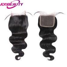 Addbeauty Brailian Для тела волна Волосы Remy 4×4 Синтетические волосы на кружеве предварительно сорвал с для волос Salon