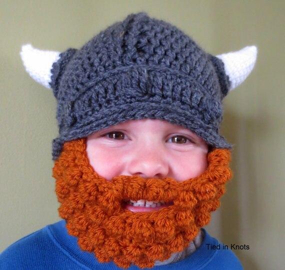 Envío libre del bebé sombrero de Viking con barba de ganchillo bebé ...