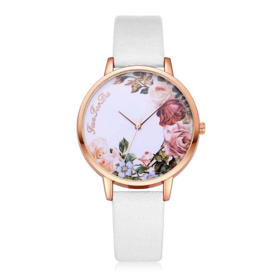 Fashion Womens Watch Girls Casual Flower Dial Leather Band Q