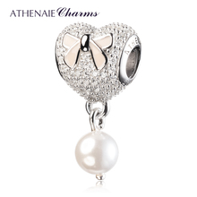 ATHENAIE 925 Silver Pink Bow Insert CZ Heart Soft Pink Enamel with Shell Bead Pendant Drops Bead Charms