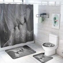 Душевая занавеска с принтом Love 4 шт., покрытие для ковра, покрытие для унитаза, набор ковриков для ванной, занавеска для ванной комнаты с 12 крючками