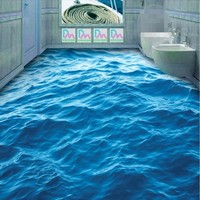 Modern Custom 3D Floor Mural HD Deep Blue Sea Waves Ripple Non Slip Waterproof Thickened Self