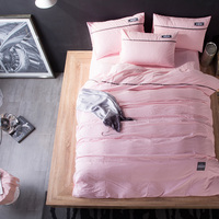 4PCS 100 Washed Cotton Luxury Thicker Bedclothes Orange Pink King Queen Bedding Sets Winter Bed Sheet
