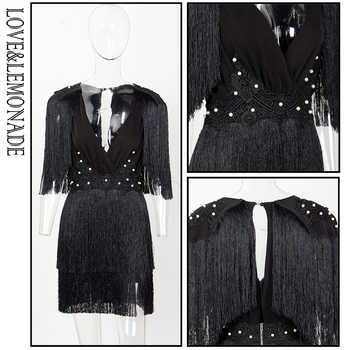 Love&Lemonade V-Neck Tassel Open Back Lace Beading Decoration Dress LM81402BLACK