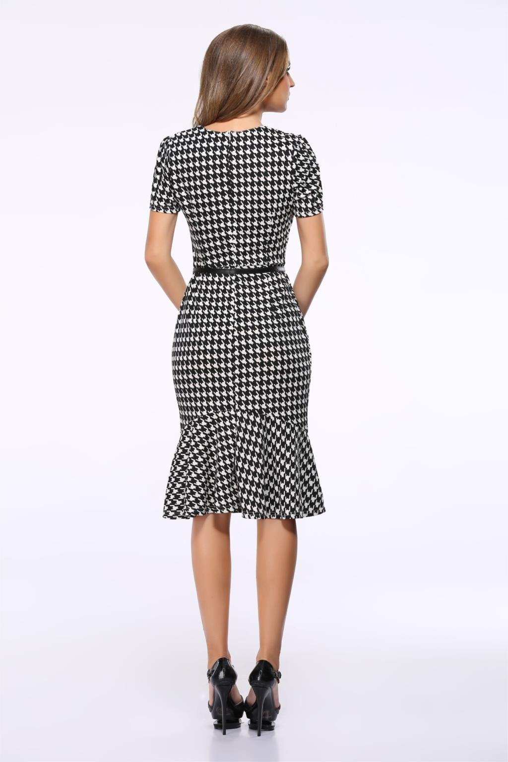 Women dresses AliExpress Europe Elegant temperament Houndstooth Slim plaid package hip fishtail dress free belt vestidos LH713