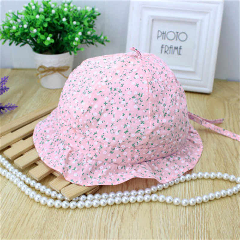 c321619dee0 ... New Fashion Flower Print Cotton Baby Summer Bucket Hat Kid Girls  Princess Beach Floral Bowknot Cap ...
