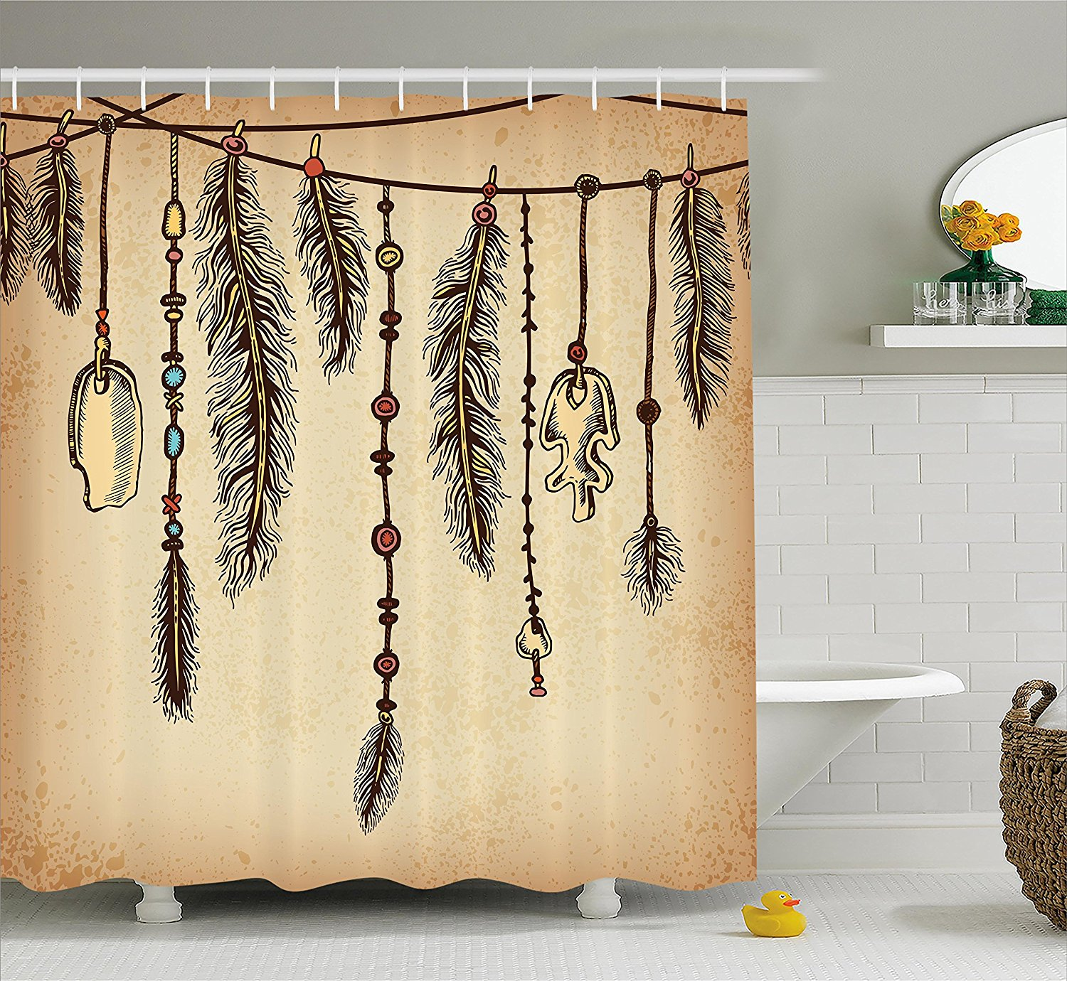 Tribal Shower Curtain Bohemian Ethnic Hair Accessories With Bird Feathers Beads On String Sketch Digital Print Bathroom Decor