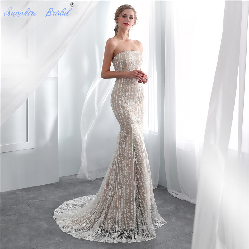 Sapphire Bridal Vintage Mermaid Bridal Gowns White Ivory Champagne Sexy Lace Wedding Dresses For Brides Hot Sale Long Party Gown gown