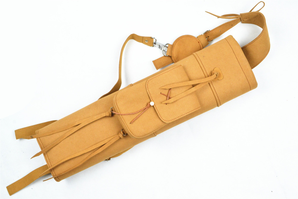 New Hand Crafted Leather Archery Quiver Slung on Shoulder Holding Black Yellow Color for Hunting