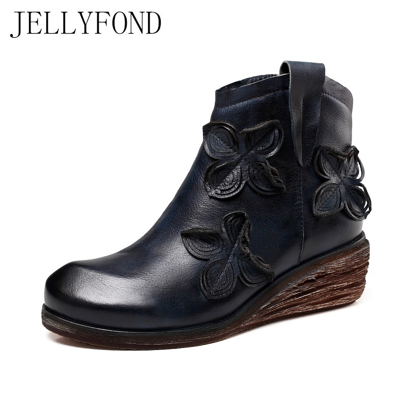 Handmade Genuine Leather Designer Women Ankle Boots 2017 Vintage Style Cow Leather Floral Platform Wedge Boots Retro Shoes Woman candy color genuine leather vintage style women casual sandals 2017 designer open toe platform wedge handmade summer shoes