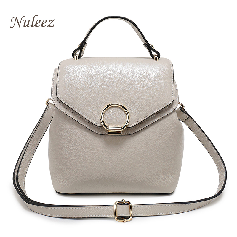 Genuine Leather Backpack Women Functional Girls Fashion Back pact Ladies Shoulder Bag Candy Pink White Black