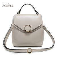 Genuine Leather Backpack Women Functional Girls Fashion Back pact Ladies Shoulder Bag Candy Pink White Black Nuleez 2018 clear