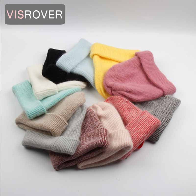 VISROVER 12 Colors 2019 New Autumn Winter Bonnet Unisex Solid Color Wool Beanies New Cashmere Woman Warm Knitted Hat Wholesales