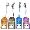 FRETE GRÁTIS (Post) 100 pçs/lote misturar cores USB 2.0 para MicroSD T-Flash Leitor de Cartão de Memória TF