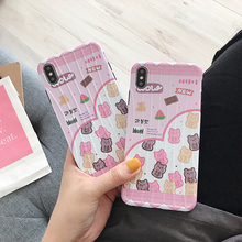 Lovely Pink IMD Candy Bear Phone Case For iPhone 7 8 6 6S Plus All-Inclusive Case For iPhone X XR XS MAX Anti-Fall TPU Soft Case