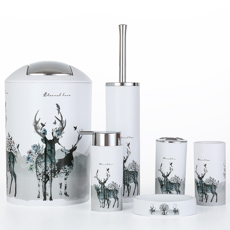 Nordic 6pcs set Printing Bathroom Accessory Set Lotion Dispenser Toothbrush Holder Tumbler Cup Soap Dish Toilet