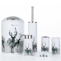 Nordic 6pcs/set Printing Bathroom Accessory Set Lotion Dispenser Toothbrush Holder Tumbler Cup Soap Dish Toilet Brush Trash Can