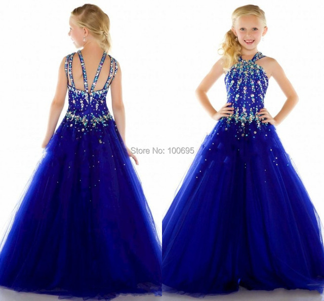 Halter Crystal Cheap Girls Pageant Dresses Kids Ball Gowns 2015 ...