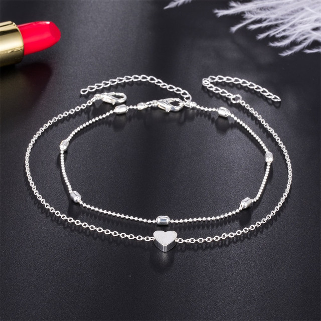 Simple Heart Female Anklets Barefoot Crochet Sandals Foot Jewelry Leg New Anklets On Foot Ankle Bracelets For Women Leg Chain 3