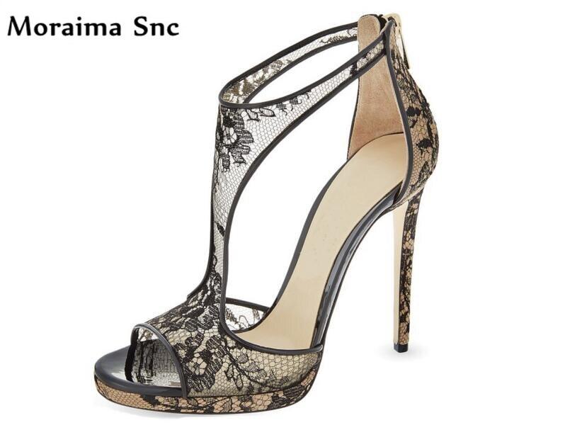 Здесь продается  Moraima Snc sexy women high heels shoes net Flower vamp platform peep toe 2018 newest women sandals black side zipper  Обувь