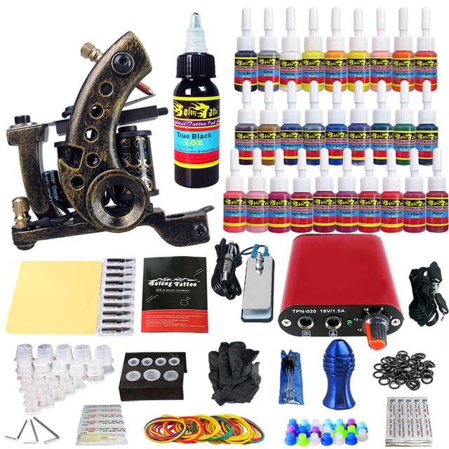 Solong Tattoo Kits Pro 1 Artesanal Bobina Da Máquina Do Tatuagem fonte de Alimentação pé Pedal Agulha Grips Dica 28 Cores 5 ml de Tinta Conjunto TKA03