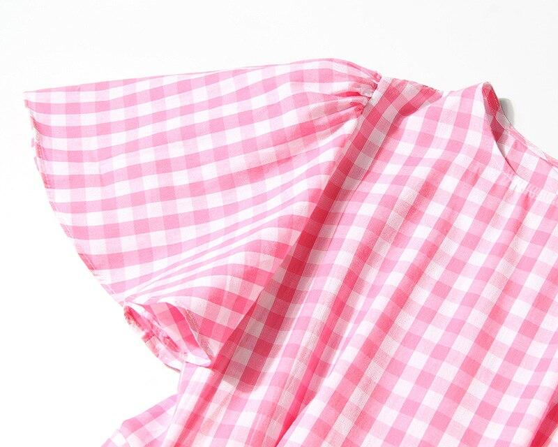Spliced Haute Plaid Bleu 2018 Rose Manches Femmes Lotus À Courtes Longue Robe Coton Taille Ceinture Nouveau Robes Feuille D'été Blue pink Getsring OAXqSww