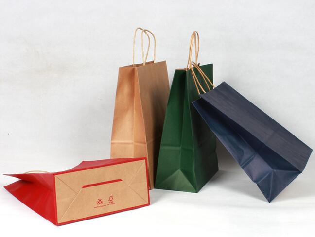 Image 4 - 40PCS/lot gift kraft paper bag with handles dark color/ Multifunction  21x15x8cm Festival gift bag wedding party/ High Quality-in Gift Bags & Wrapping Supplies from Home & Garden