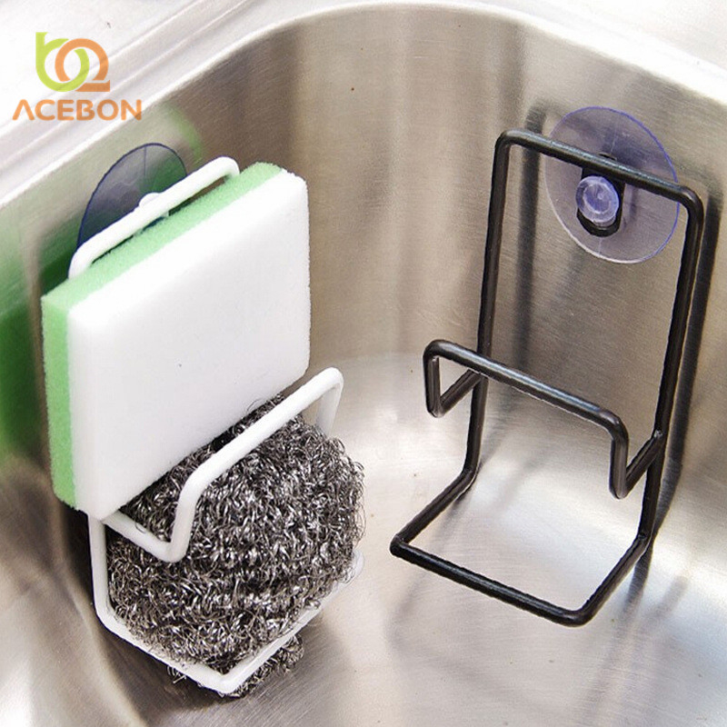 1PC Portable Plastic Draining Rack Sponge Brush Storage Bathroom Soap Suction Cup Shelf Rack Organizer Kitchen Accessories